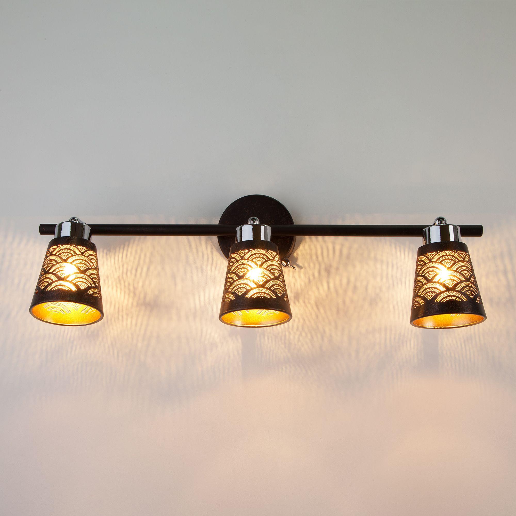 Настенный светильник с поворотными плафонами 20061/3 черный