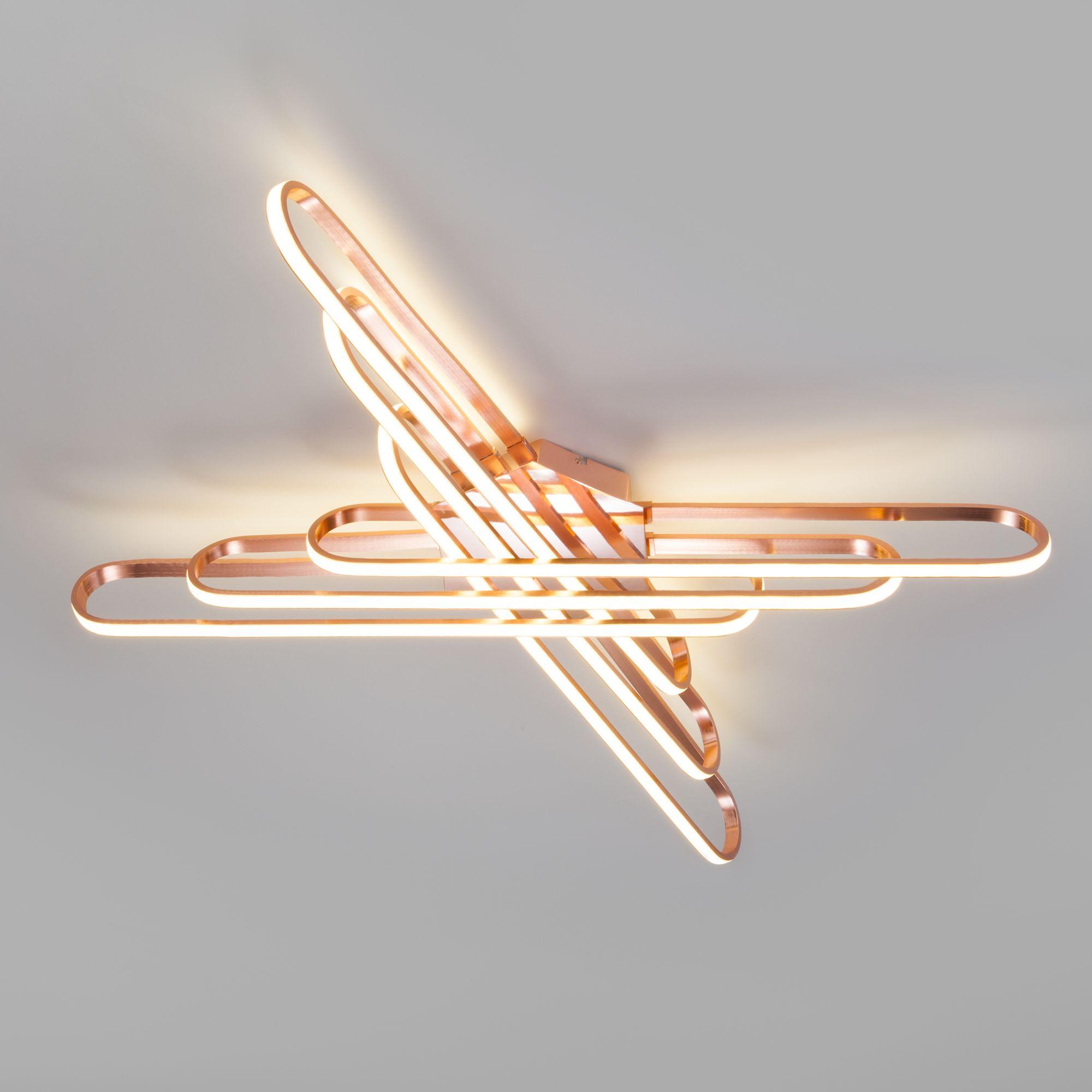 Потолочный светодиодный светильник с пультом управления 90133/6 розовое золото