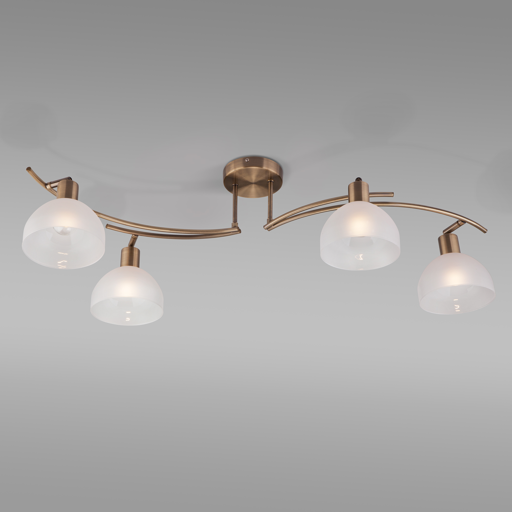 Потолочный светильник со стеклянными плафонами 30141/4 античная бронза