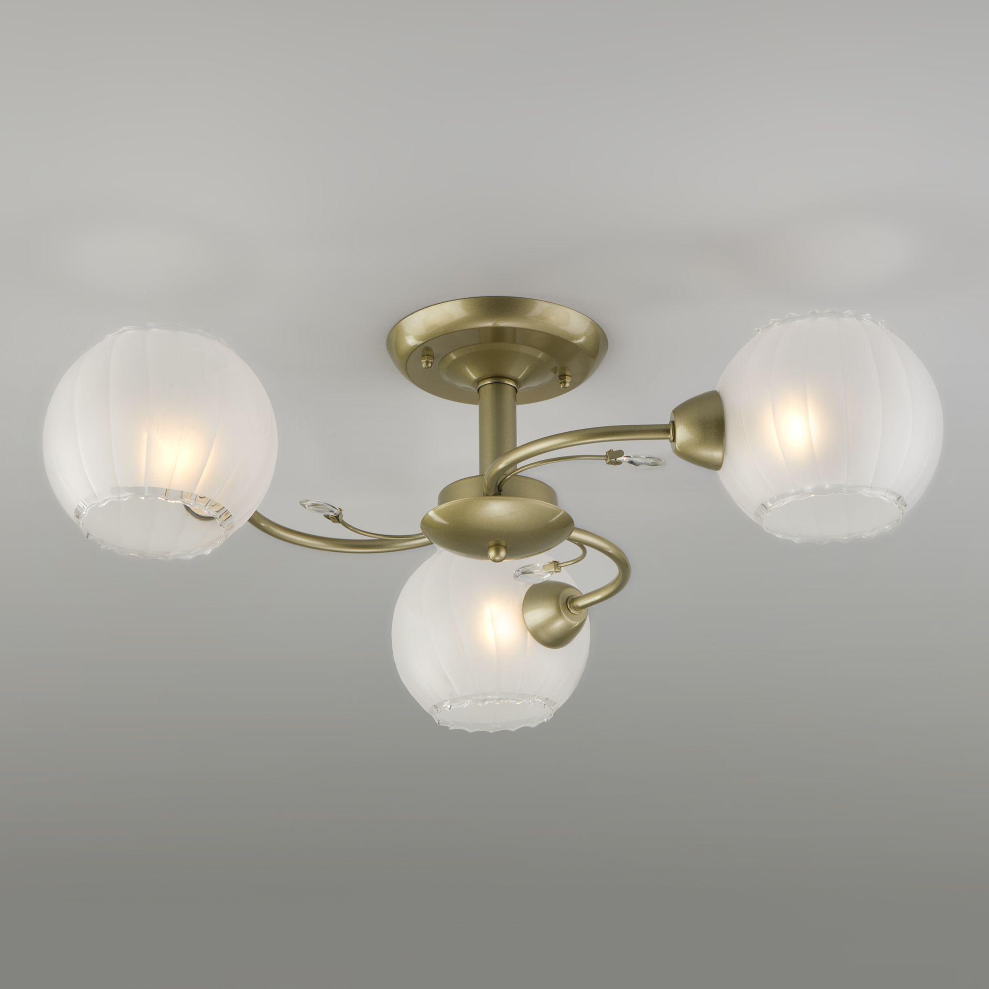 Потолочная люстра со стеклянными плафонами 30146/3 перламутровое золото