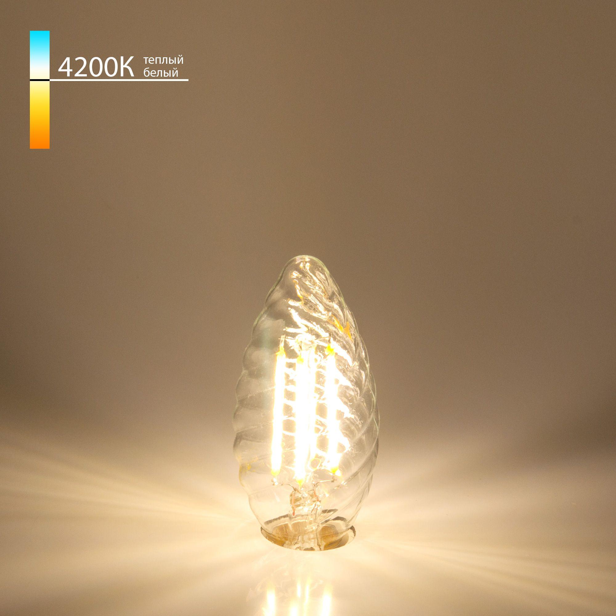 Филаментная лампа свеча витая Свеча витая F 7W 4200K E14