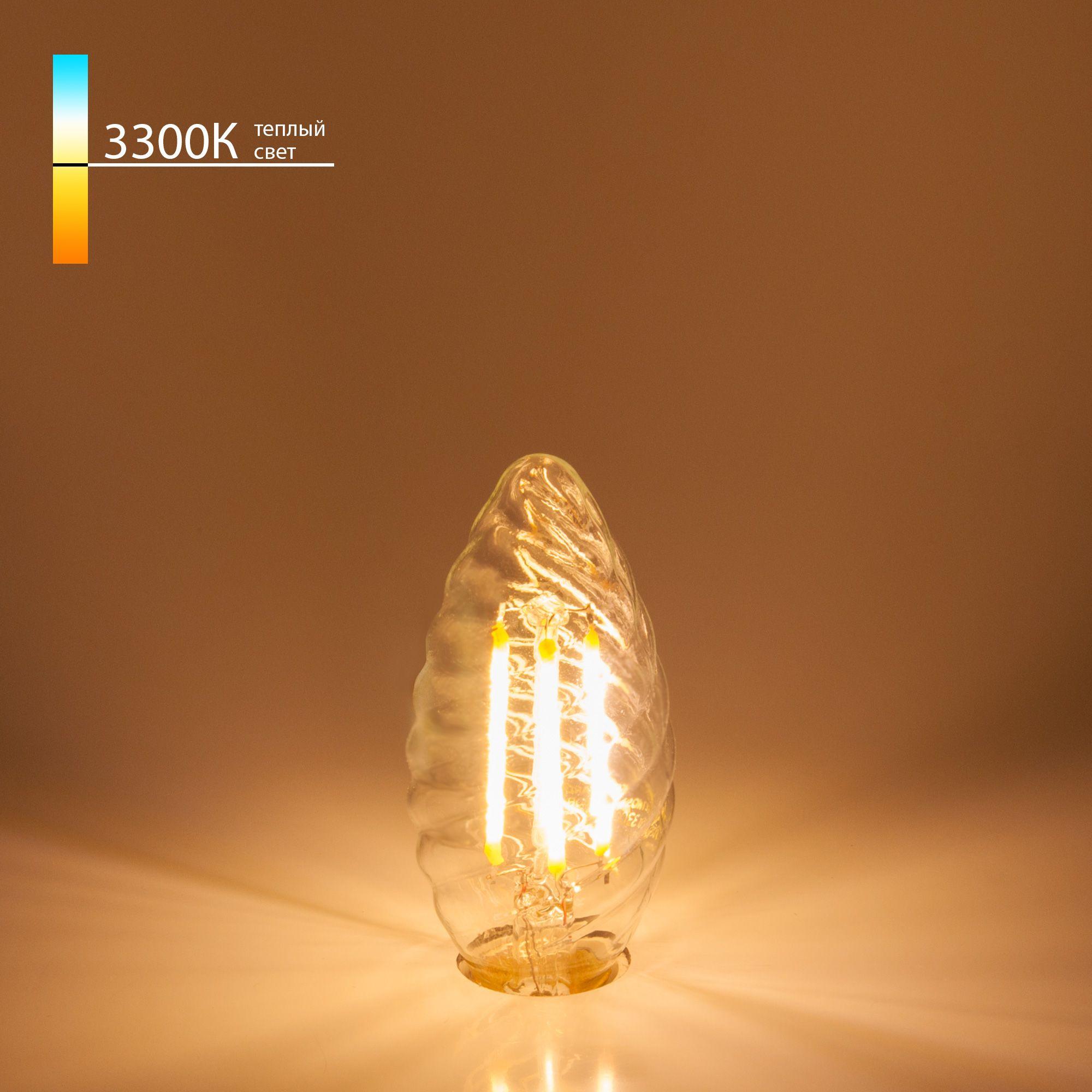 Лампа филаментная свеча Свеча витая F 7W 3300K E14
