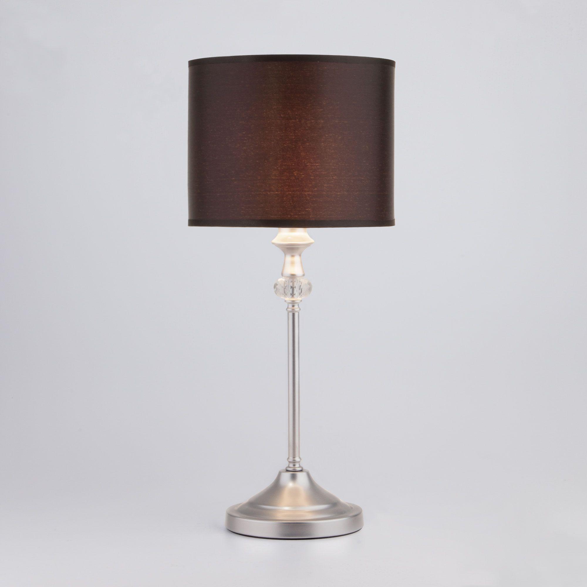 Настольная лампа с черным абажуром 01049/1 серебро