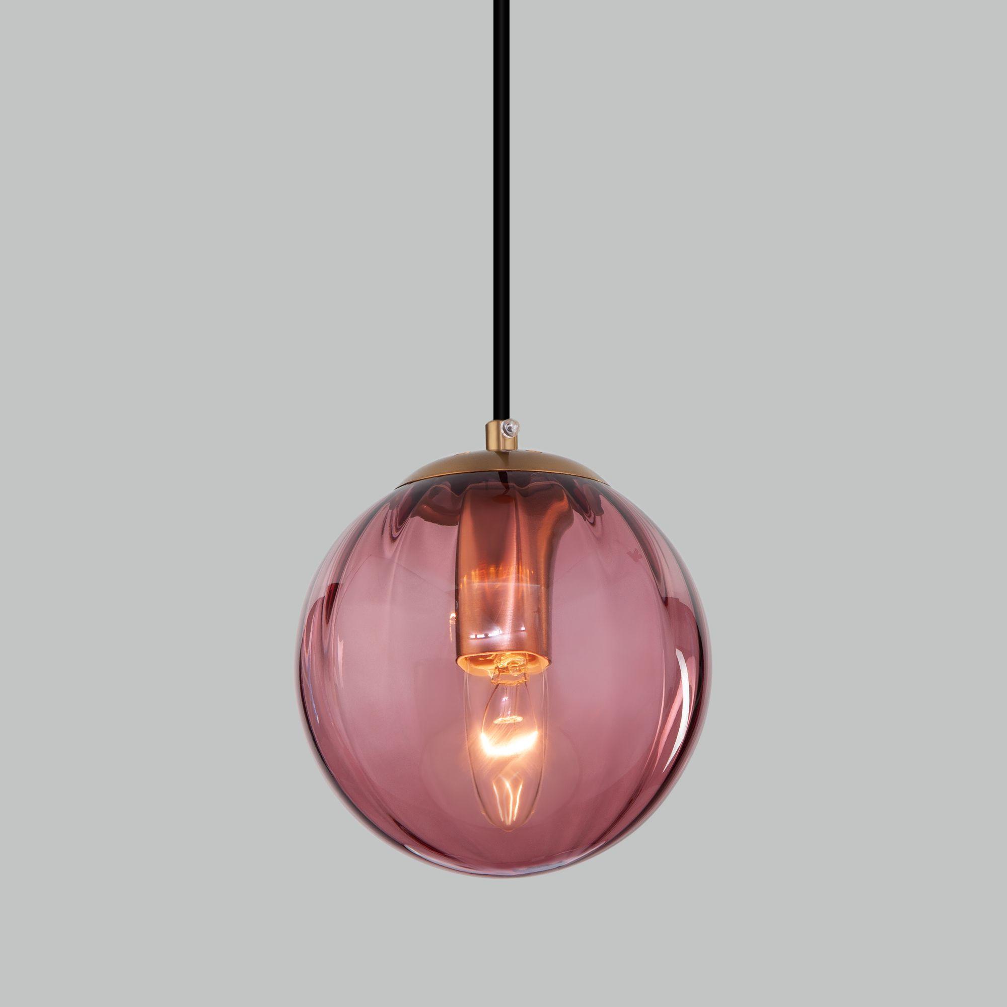 Подвесной светильник со стеклянным плафоном 50207/1 бордовый