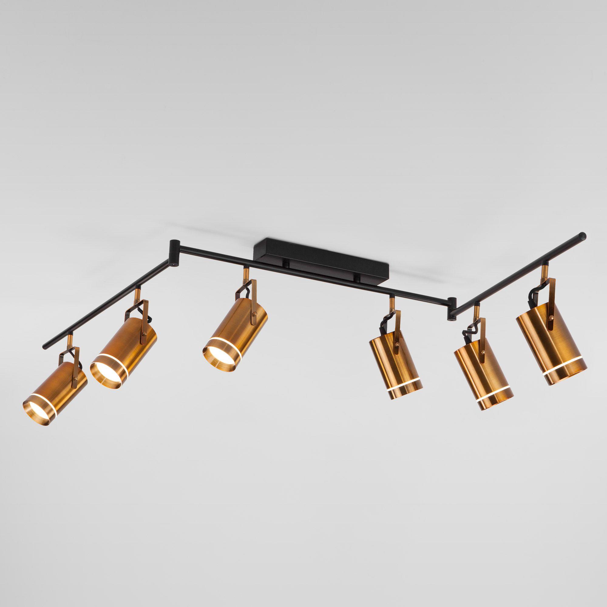 Потолочный светильник с поворотными плафонами и пультом 20063/6 LED античная бронза