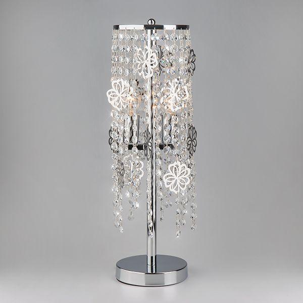 Настольная лампа с хрусталем 01035/2 хром/прозрачный хрусталь Strotskis