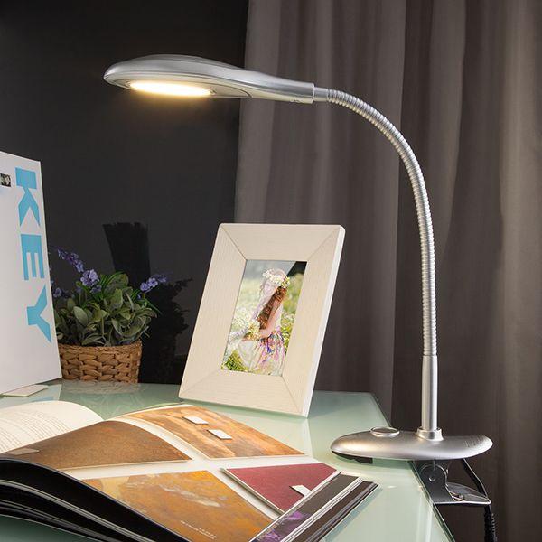 Настольная лампа на прищепке 90198/1 серебристый
