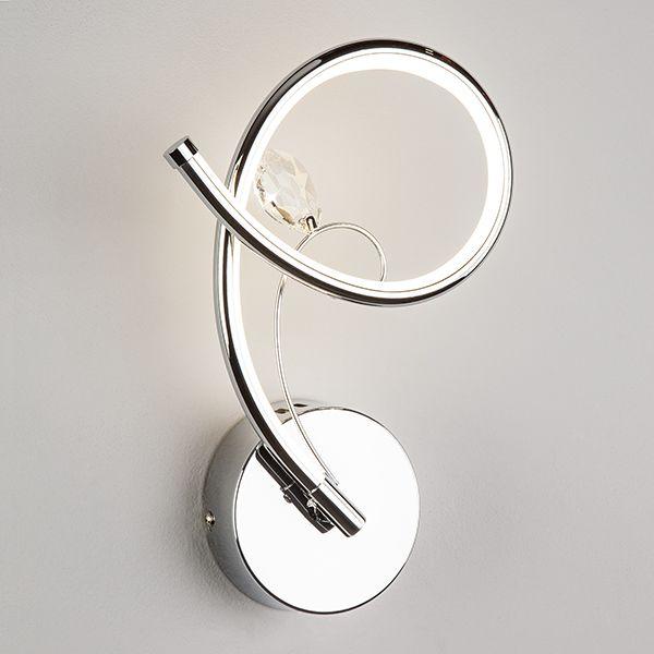Настенный светодиодный светильник с хрусталем 90089/1 хром