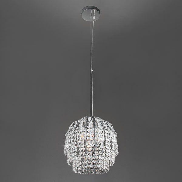 Подвесной светильник с хрусталем 10091/1 хром/прозрачный хрусталь Strotskis