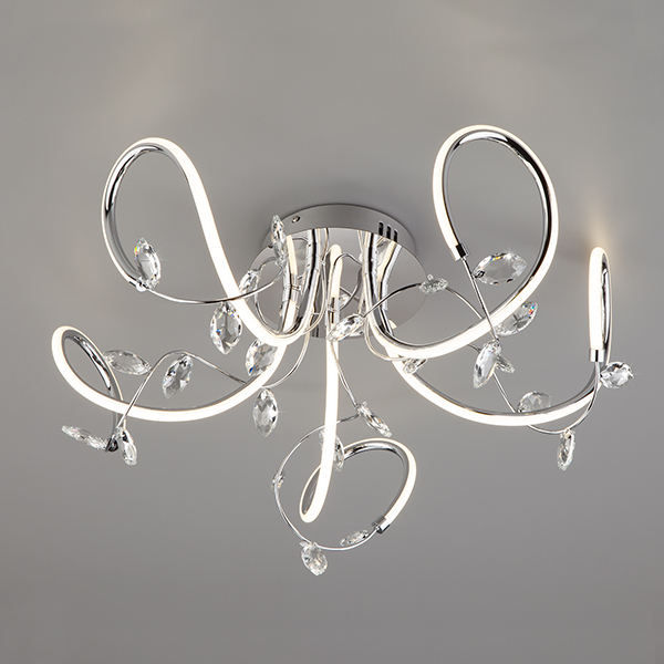 Светодиодный потолочный светильник с хрусталем 90106/5 хром