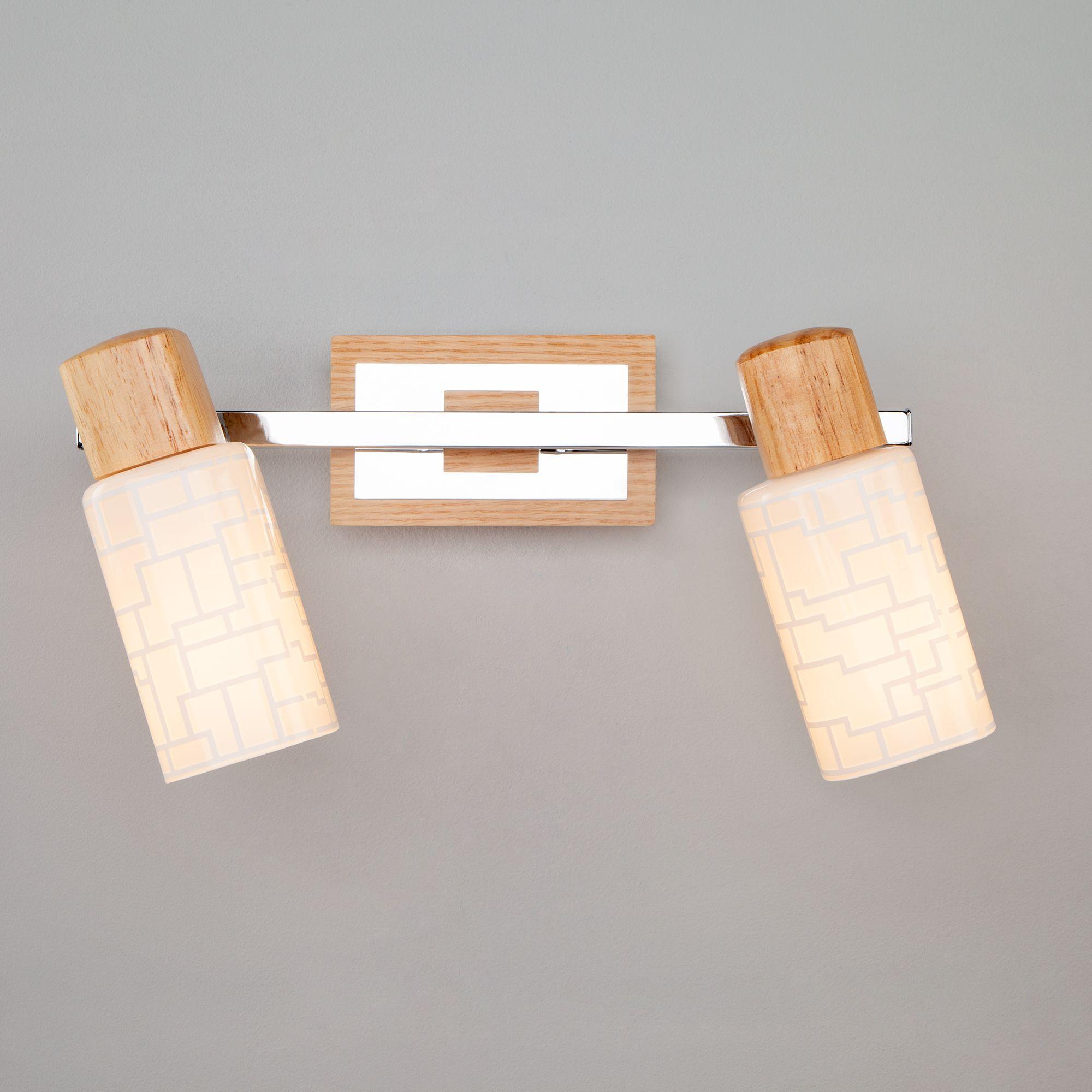 Настенный светильник 20029/2 хром / светлое дерево